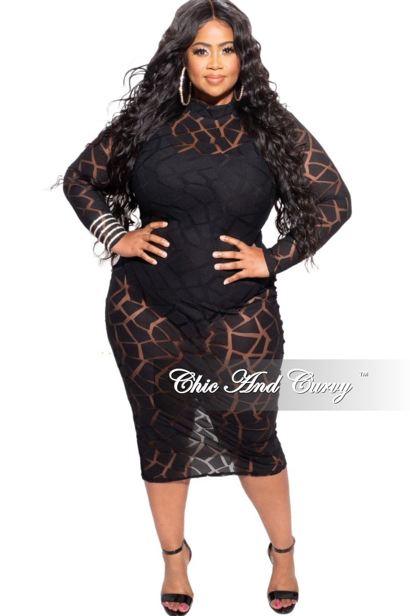 New Plus Size Mock Neck Lace Dress in Black