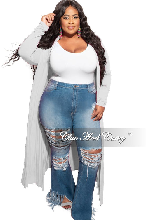 New Plus Size Duster in Heather Grey