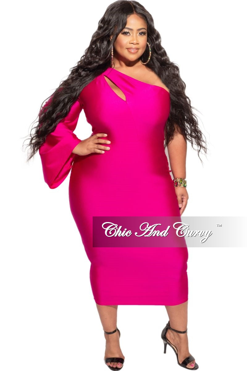 Final Sale Plus Size Shimmer One Bell Sleeve BodyCon Dress in Fuchsia