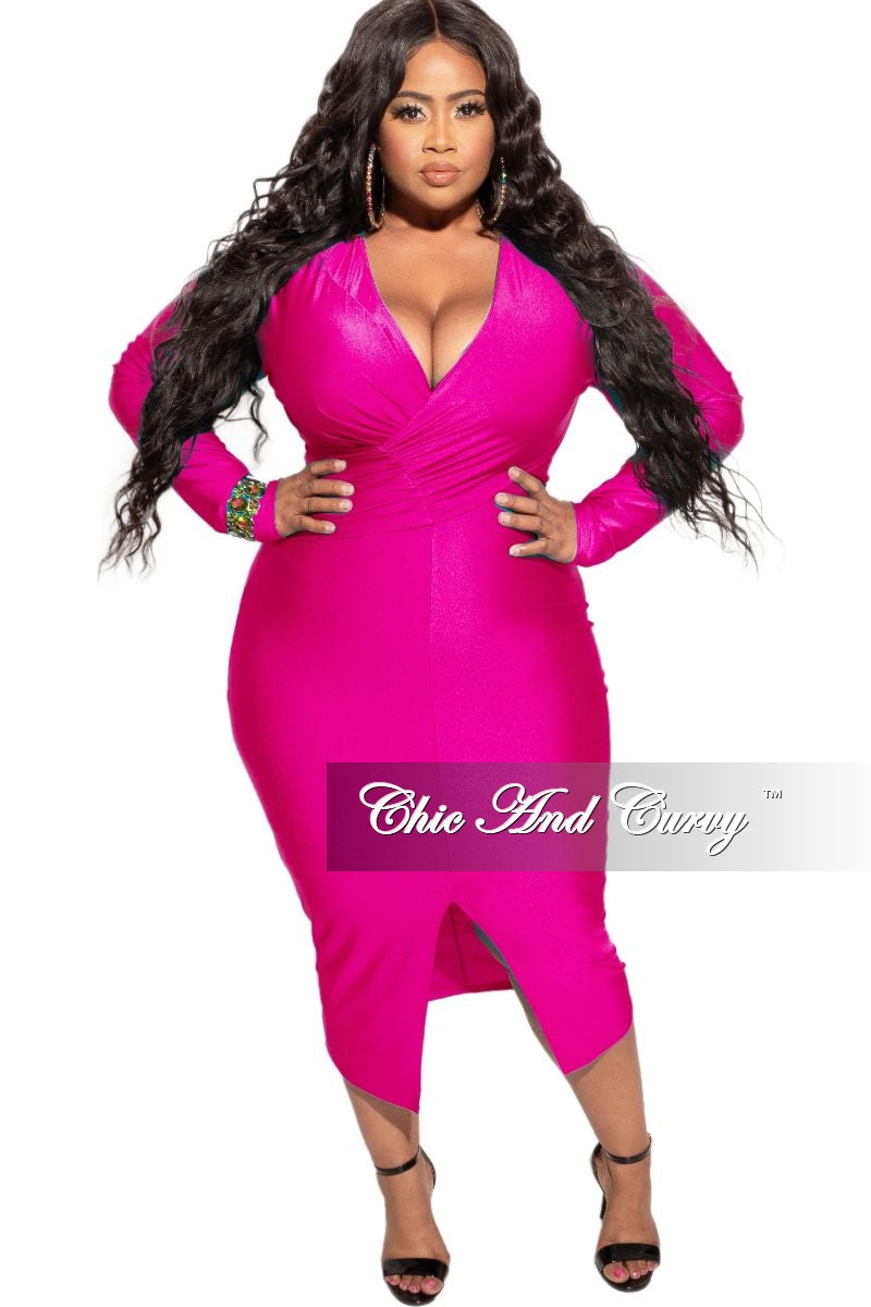 New Plus Size Shiny Surplice Faux Wrap Dress In Fuchsia