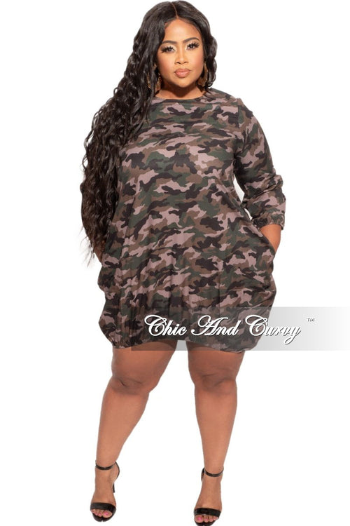 New Plus Size Bubble Dress in Camouflage Print