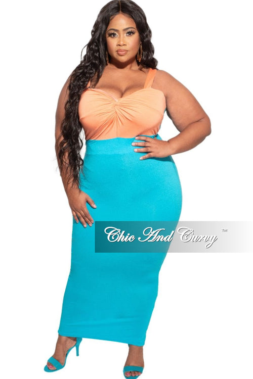 *Deal of the Day Final Sale Plus Size Bodycon Dress in Orange and Turquoise
