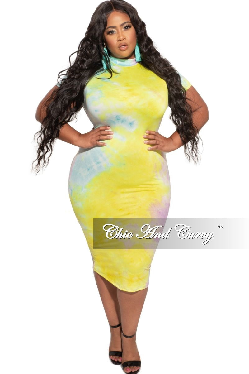 New Plus Size Bodycon Dress in Yellow / Aqua Tie Dye
