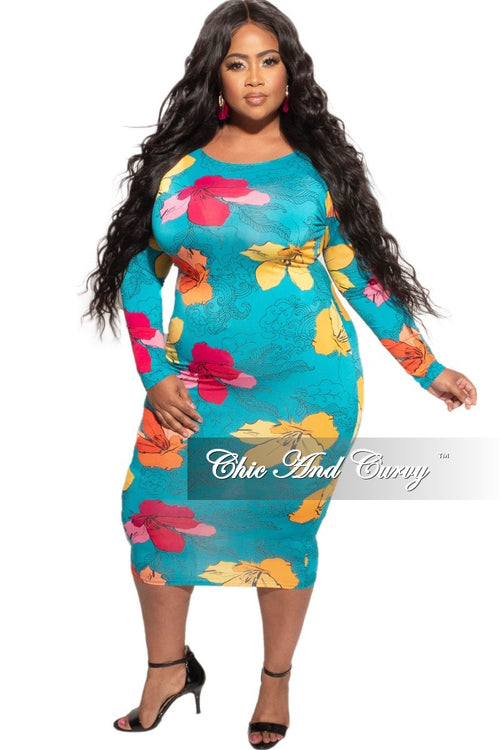 New Plus Size Bodycon Dress in Turquoise Floral Print
