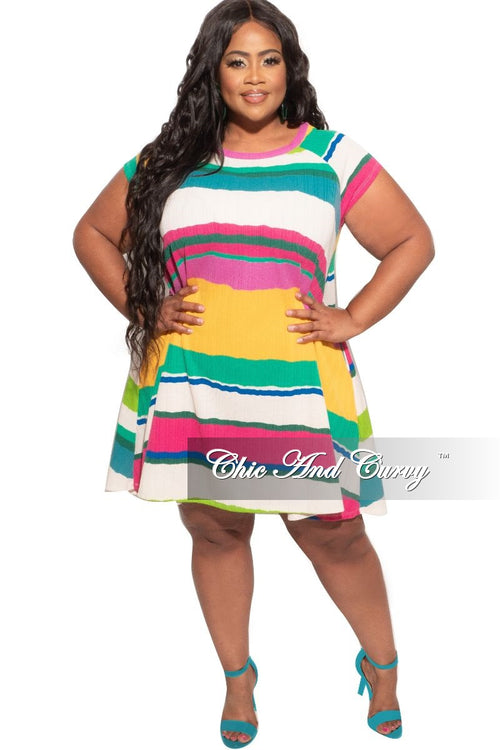 Final Sale Plus Size Babydoll Dress in Stripes