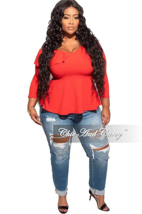 New Plus Size Peplum Top with One Side Off the Shoulder in Red
