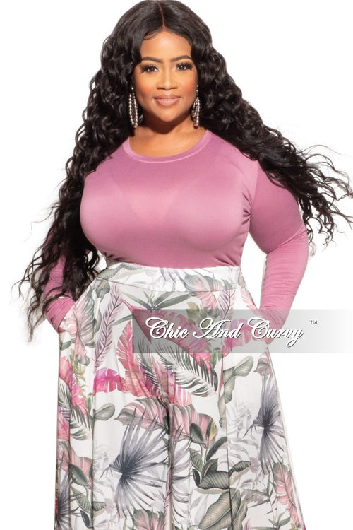 Final Sale Plus Size Long Sleeve Slim Fit Crop Top in Mauve