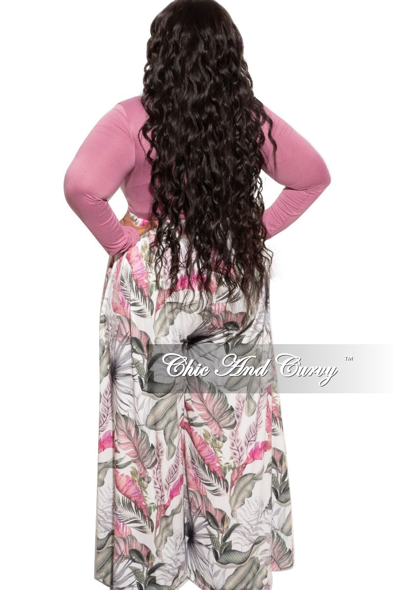 New Plus Size Palazzo Pants in Mauve Floral Print