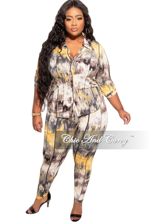 Final Sale Plus Size 2-Piece Collared Button Top and Pants Set in Mustard, Black, and Grey Print