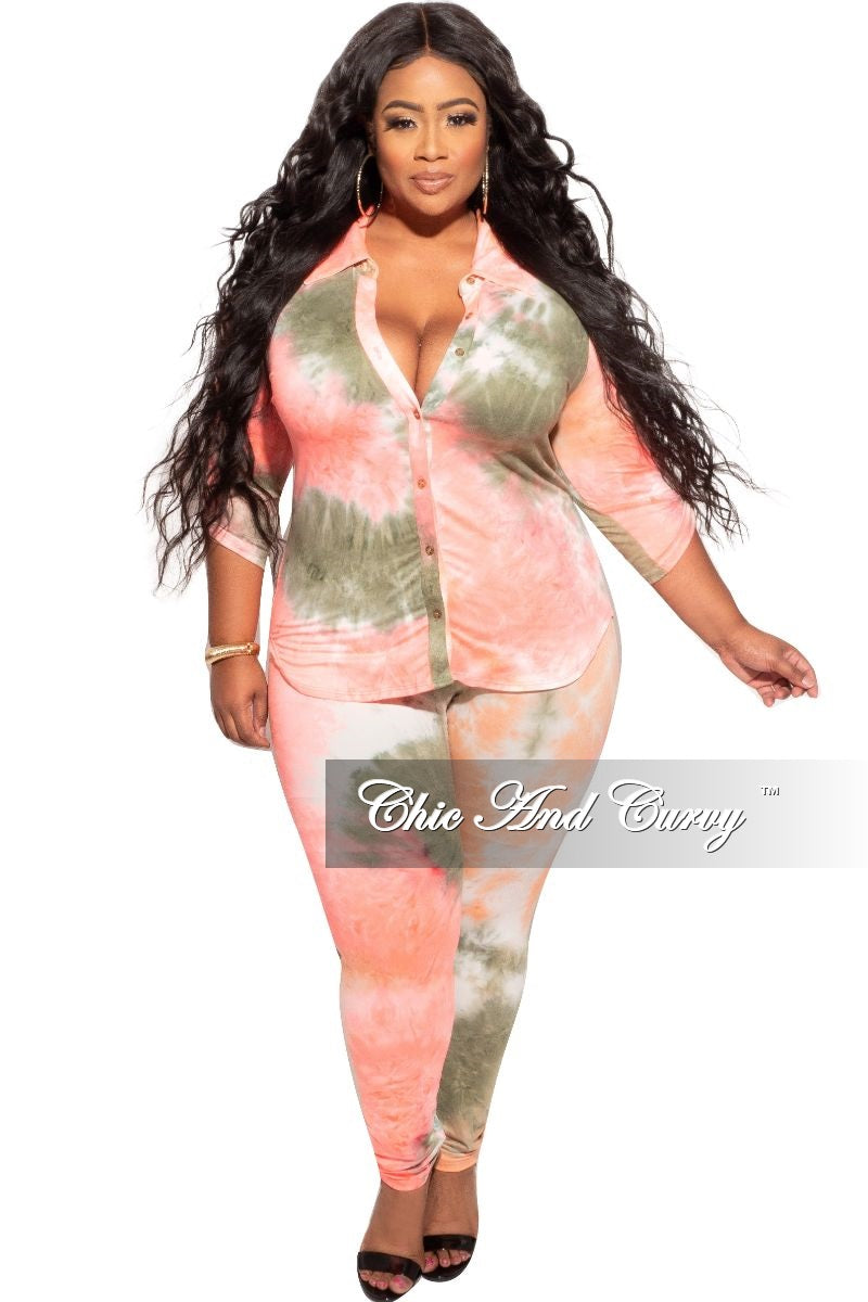 Final Sale Plus Size 2-Piece Collared Button Top and Pants Set in Olive and Neon Pink