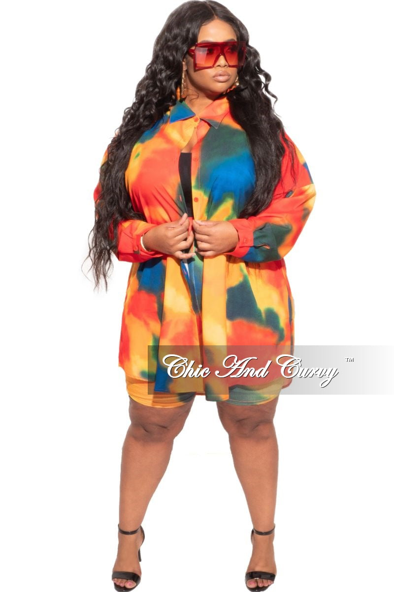 New Plus Size Set in Multi-Color Print Button Down Oversized Top and Shorts