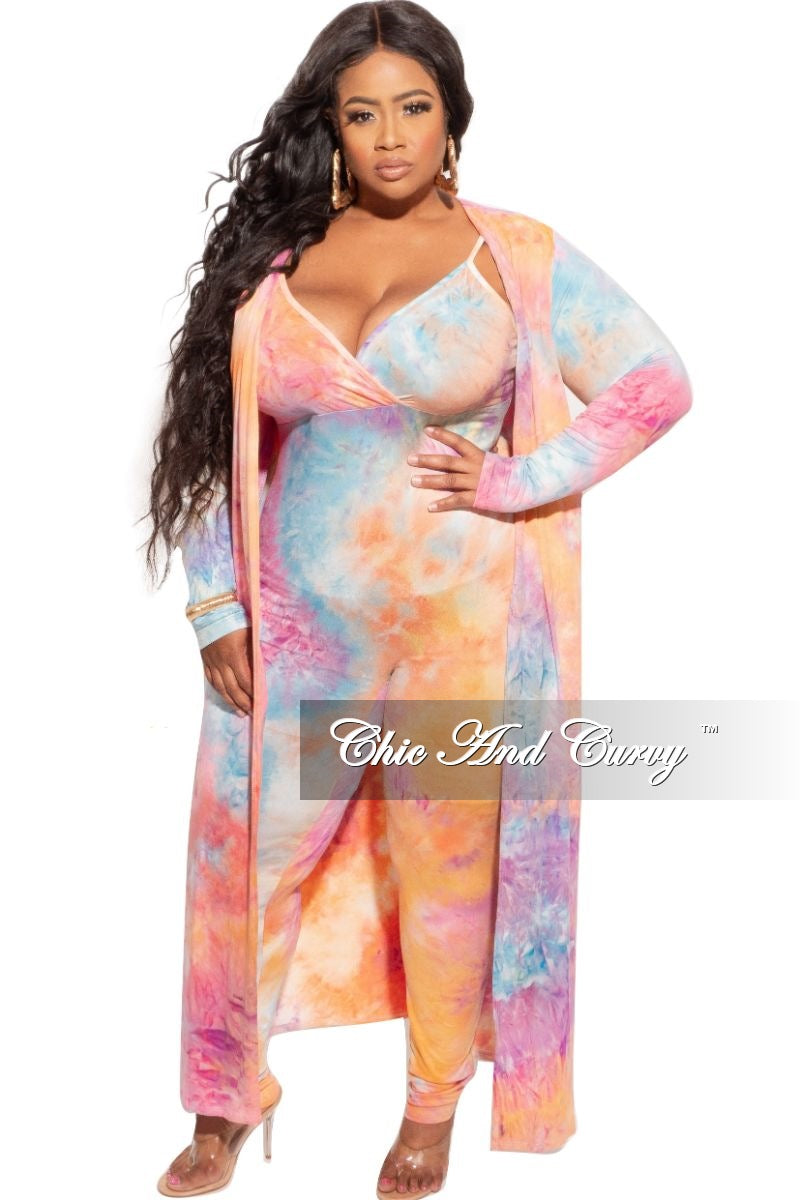 New Plus Size 2-Piece Duster & Spaghetti Strap Jumpsuit Set in Rainbow Sherbet Print