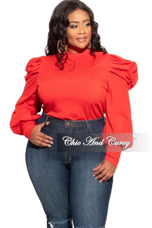 New Plus Size Long Sleeve Ribbed Top with Puffy Sleeves in Red