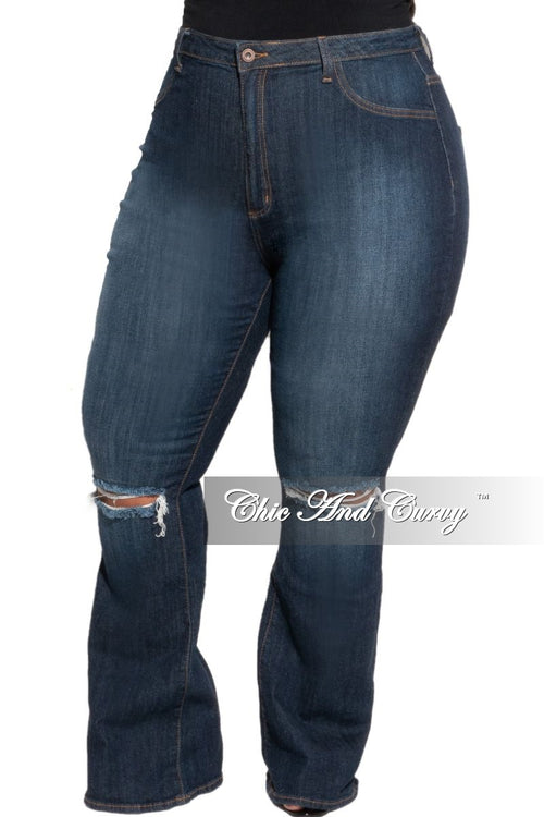 Final Sale Plus Size Flair Leg Denim Jeans with Knee Slit in Dark Blue