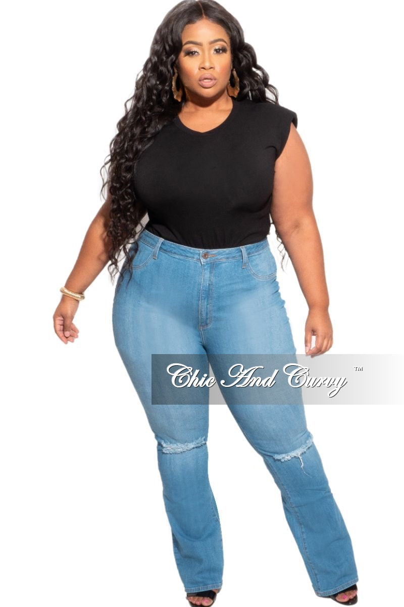 New Plus Size Sleeveless Top with Shoulder Pads in Black
