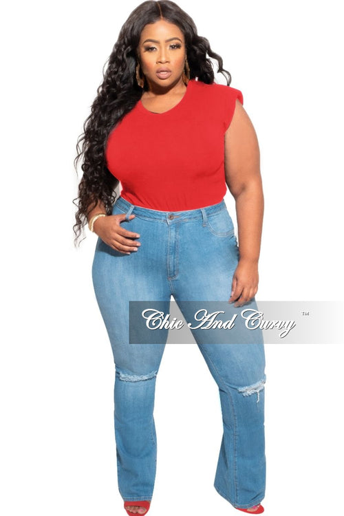 New Plus Size Sleeveless Top with Shoulder Pads in Red
