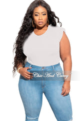 New Plus Size Sleeveless Top with Shoulder Pads in Off White