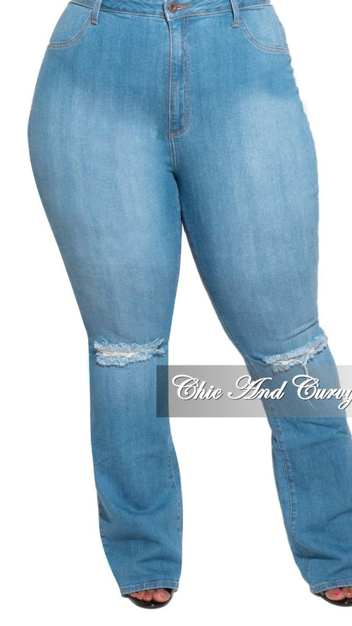 Final Sale Plus Size Flair Leg Denim Jeans with Knee Slit in Medium Blue
