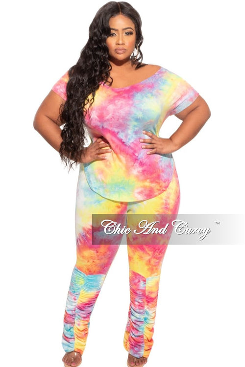 New Plus Size 2-Piece Set Wide Neck Top and Ruched Pants in Multi Color Tie Dye