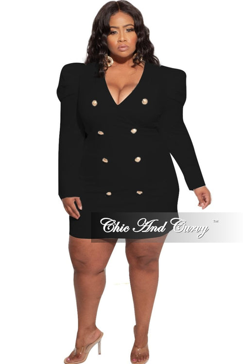 New Plus Size Coat Dress with Gold Buttons in Black