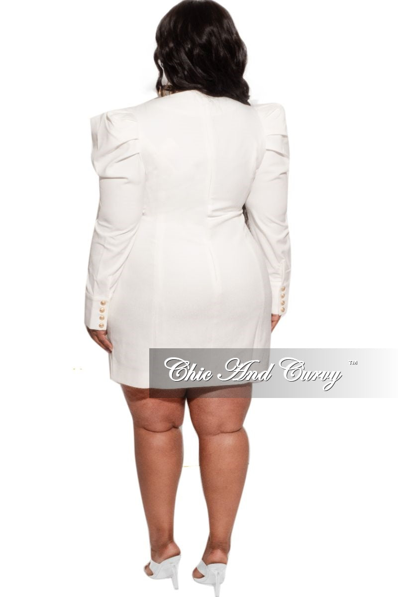 Final Sale Plus Size Coat Dress with Gold Buttons in Ivory