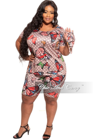 New Plus Size 2-Piece Faux Wrap Tie Top with Bell Slit Sleeves and Skirt Set in Animal Print