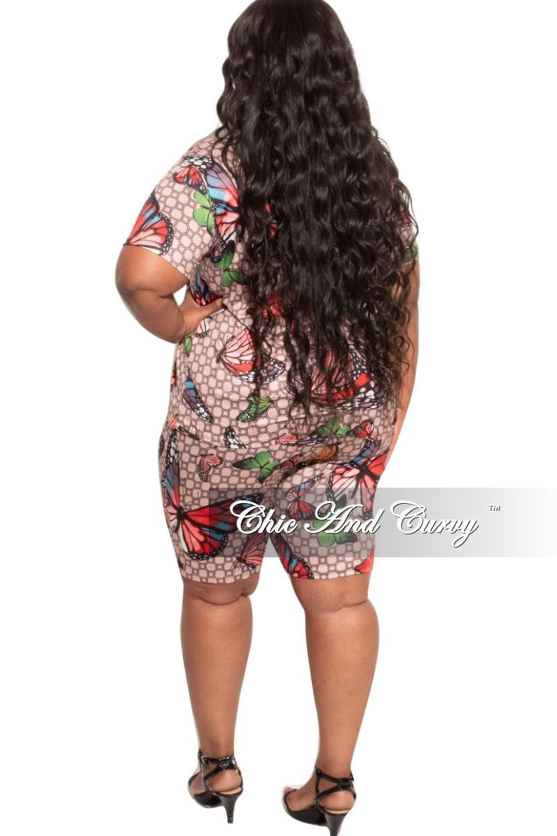 New Plus Size 2-piece Top and Shorts Set in Multi-color Butterfly
