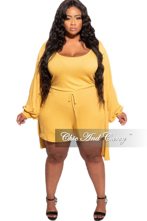 New Plus Size 2-piece Duster & Romper Set in Mustard