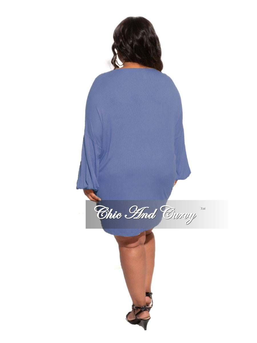 New Plus Size 2-piece Duster & Romper Set in Blue