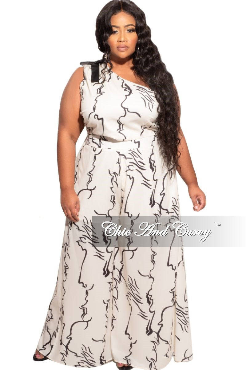 Final Sale Plus Size 2pc One Shoulder Top & Palazzo Pants in Ivory and Black Design