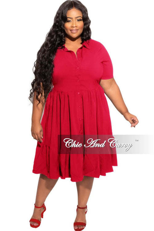 New Plus Size 3 Layer Bottom Dress in Red