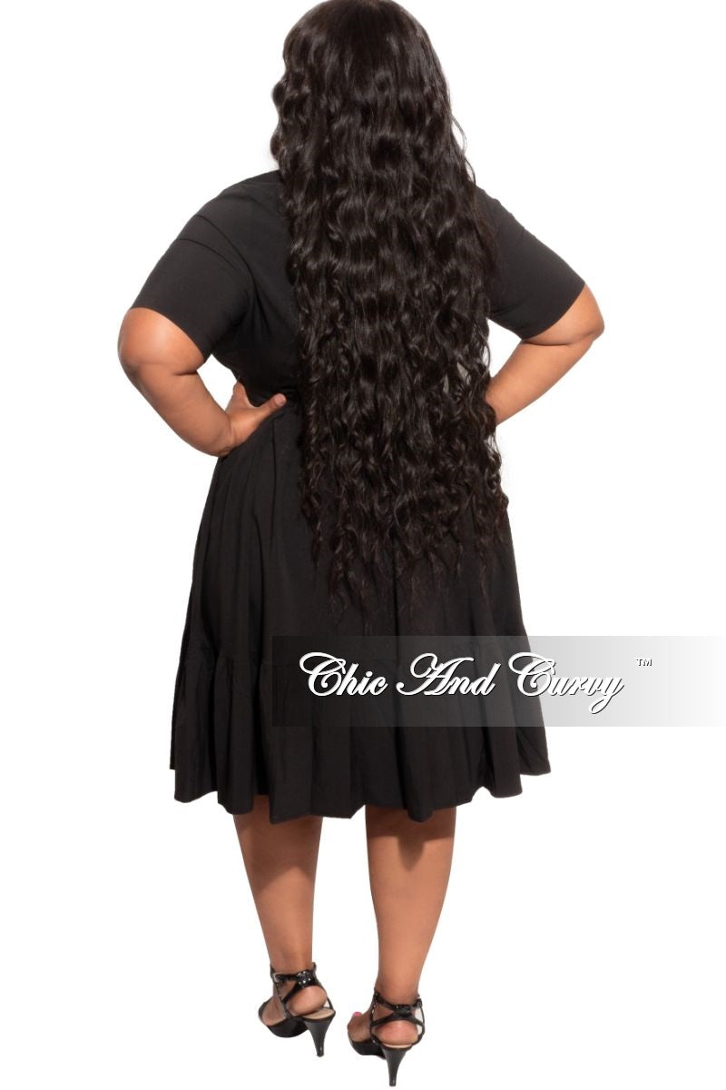 New Plus Size 3 Layer Bottom Dress in Black