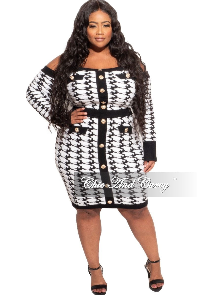 Final Sale Plus Size 2pc Off the Shoulder Top & Skirt Set in Black White Design