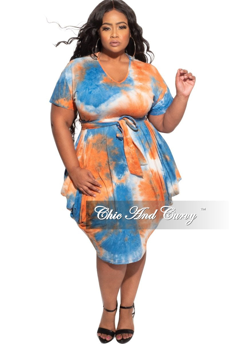 New Plus Size Harem Tie Dress in Orange, Blue, and White Tie Dye