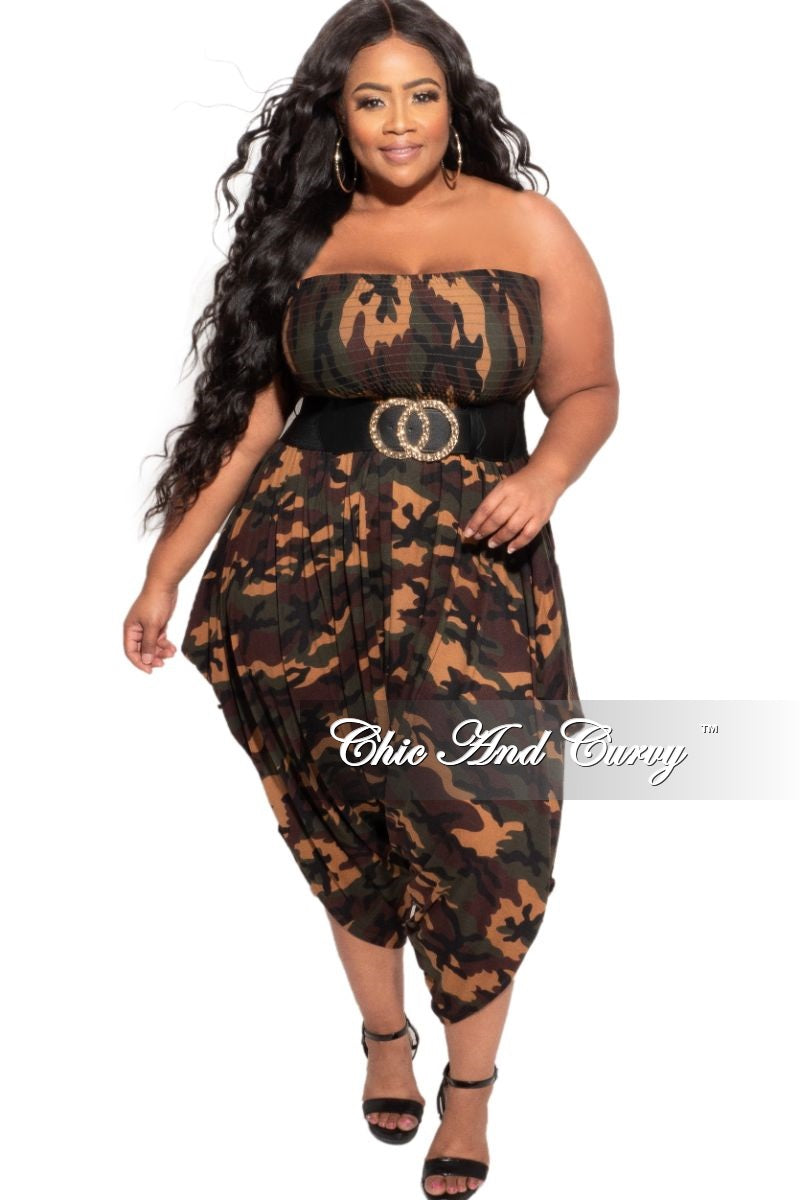 New Plus Size Strapless Smocked Harem Jumpsuit in Camouflage