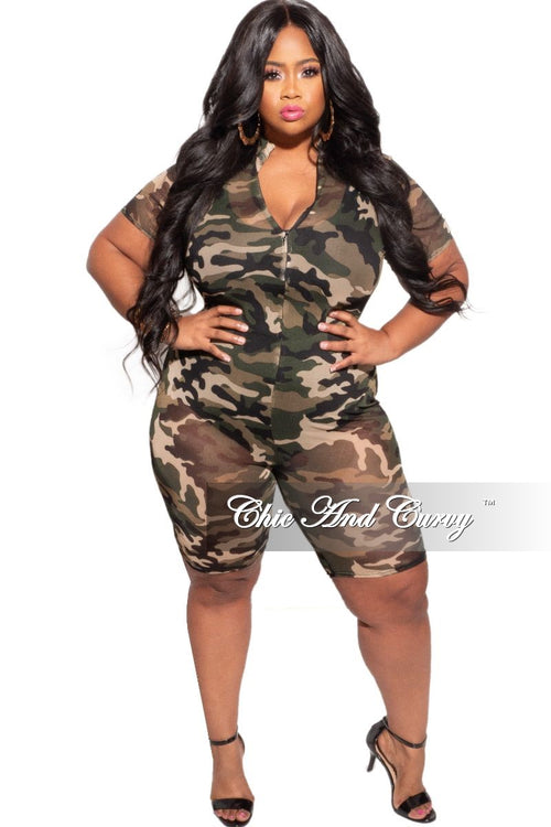 Final Sale Plus Size Short Sleeve Mesh Romper in Camouflage Print