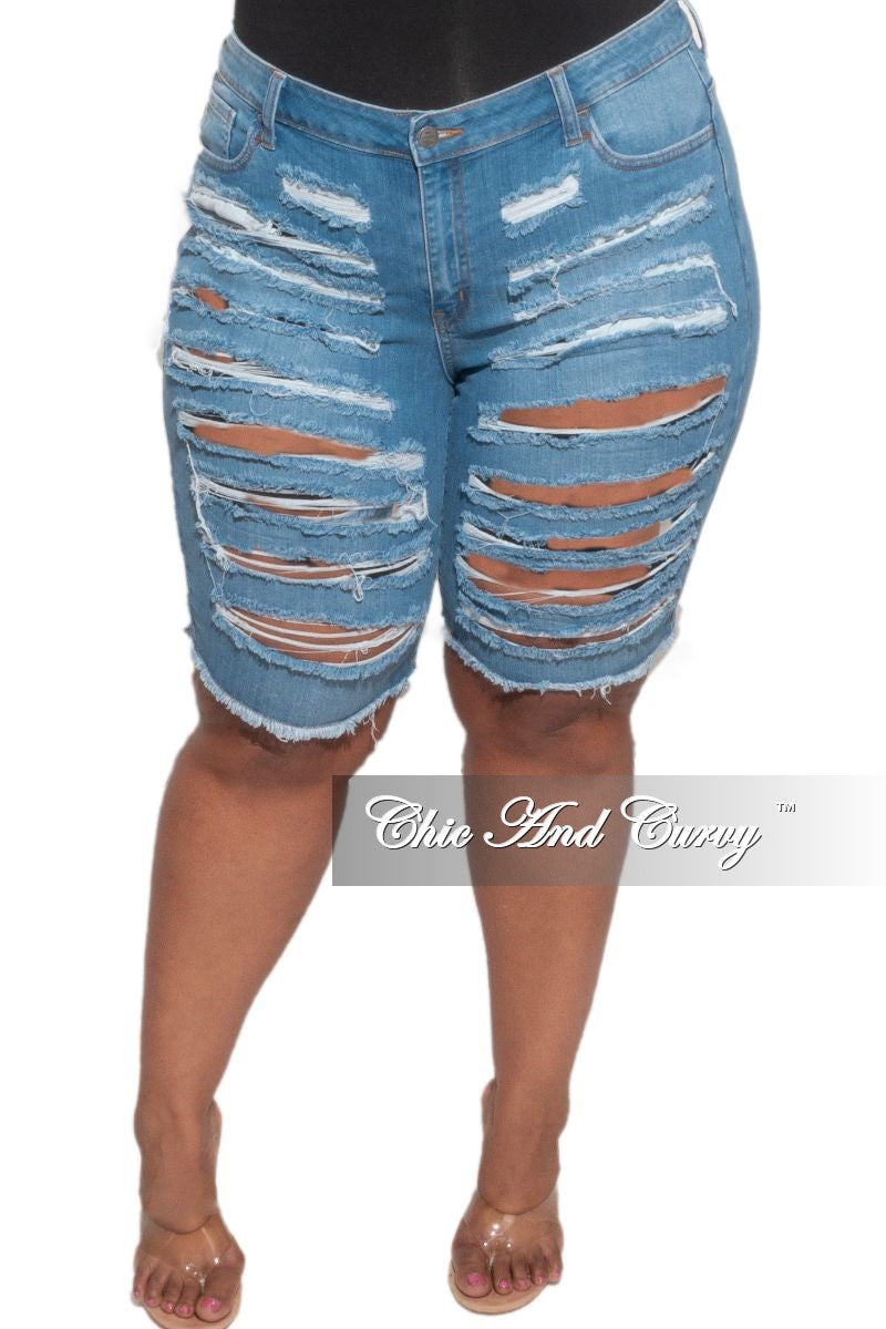 New Plus Size Distressed Jean Shorts in Medium Denim