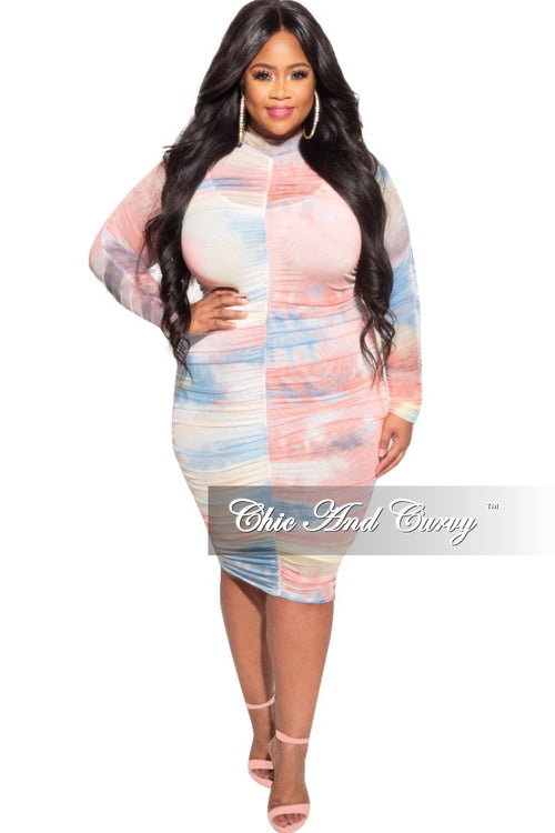 New Plus Size Mesh Dress in Cotton Candy Print