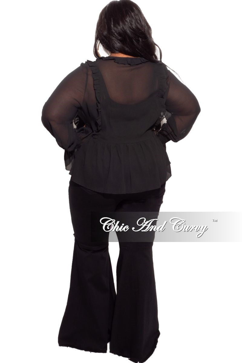 New Plus Size Sheer Top with Ruffle Sleeves
