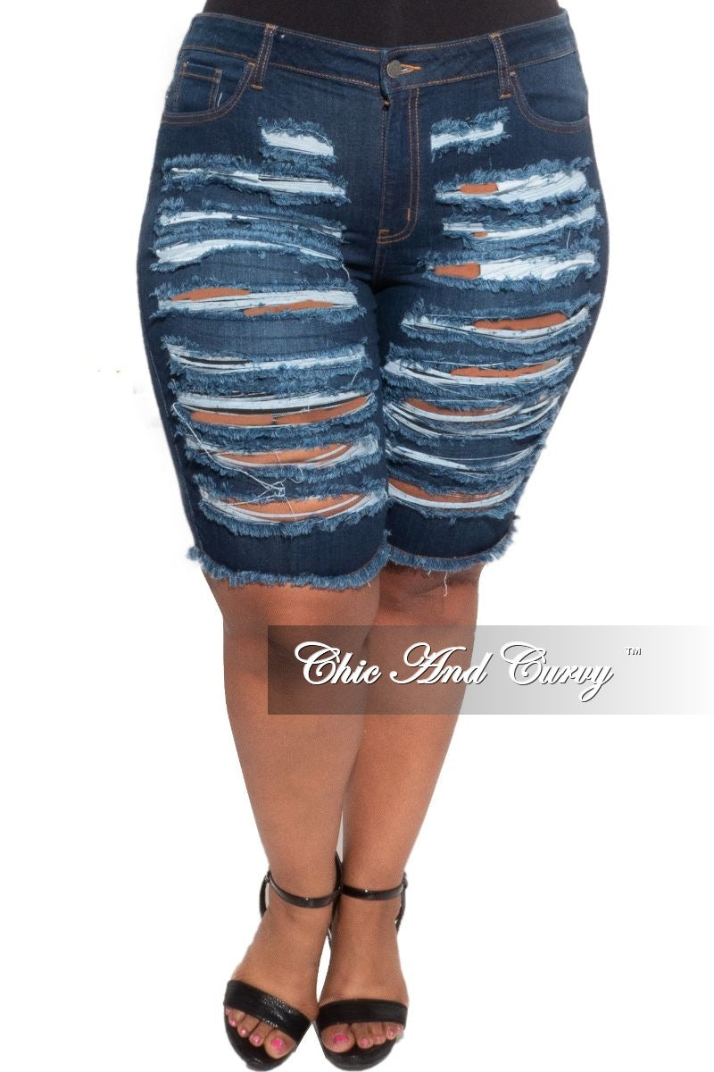 New Plus Size Distressed Jean Shorts in Dark Denim