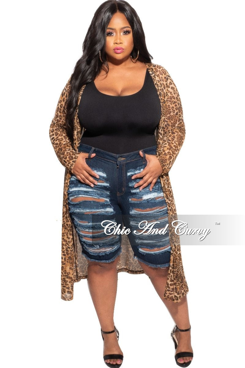 Final Sale Plus Size Mesh Duster in Animal Print
