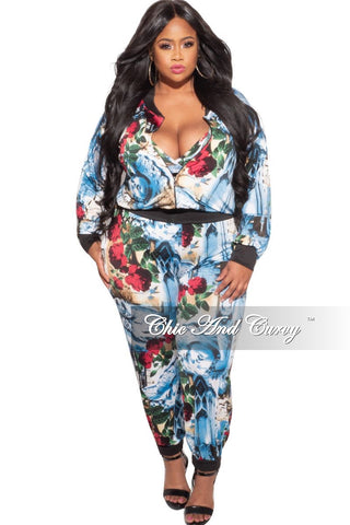 New Plus Size 2-Piece Collared Button Top and Pants Set in Magenta and White Tie Dye Print