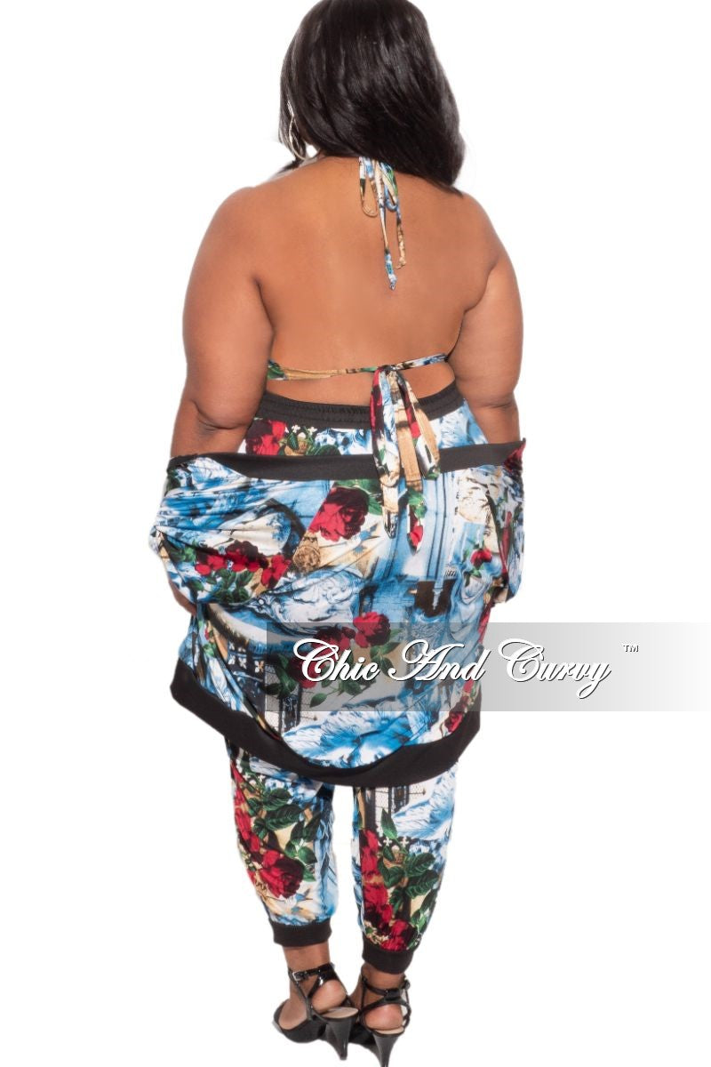 New Plus Size 3pc (Jacket, Top & Pants) Set in Blue, Red & White Print