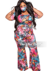 New Plus Size Bell Bottom Jumpsuit in Pink Butterfly Print