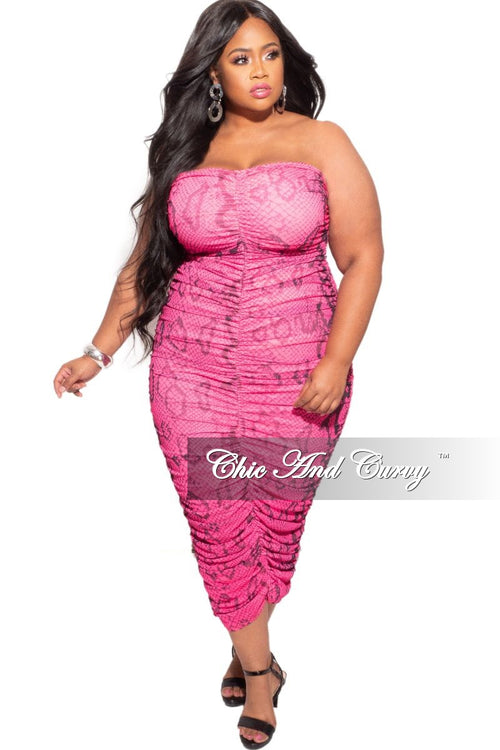 *Deal of the Day Final Sale Plus Size Strapless Ruched BodyCon Dress in Pink Snake Skin Print