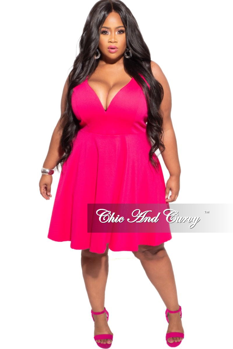 New Plus Size Spaghetti Strap Baby Doll Dress in Fuchsia Pink