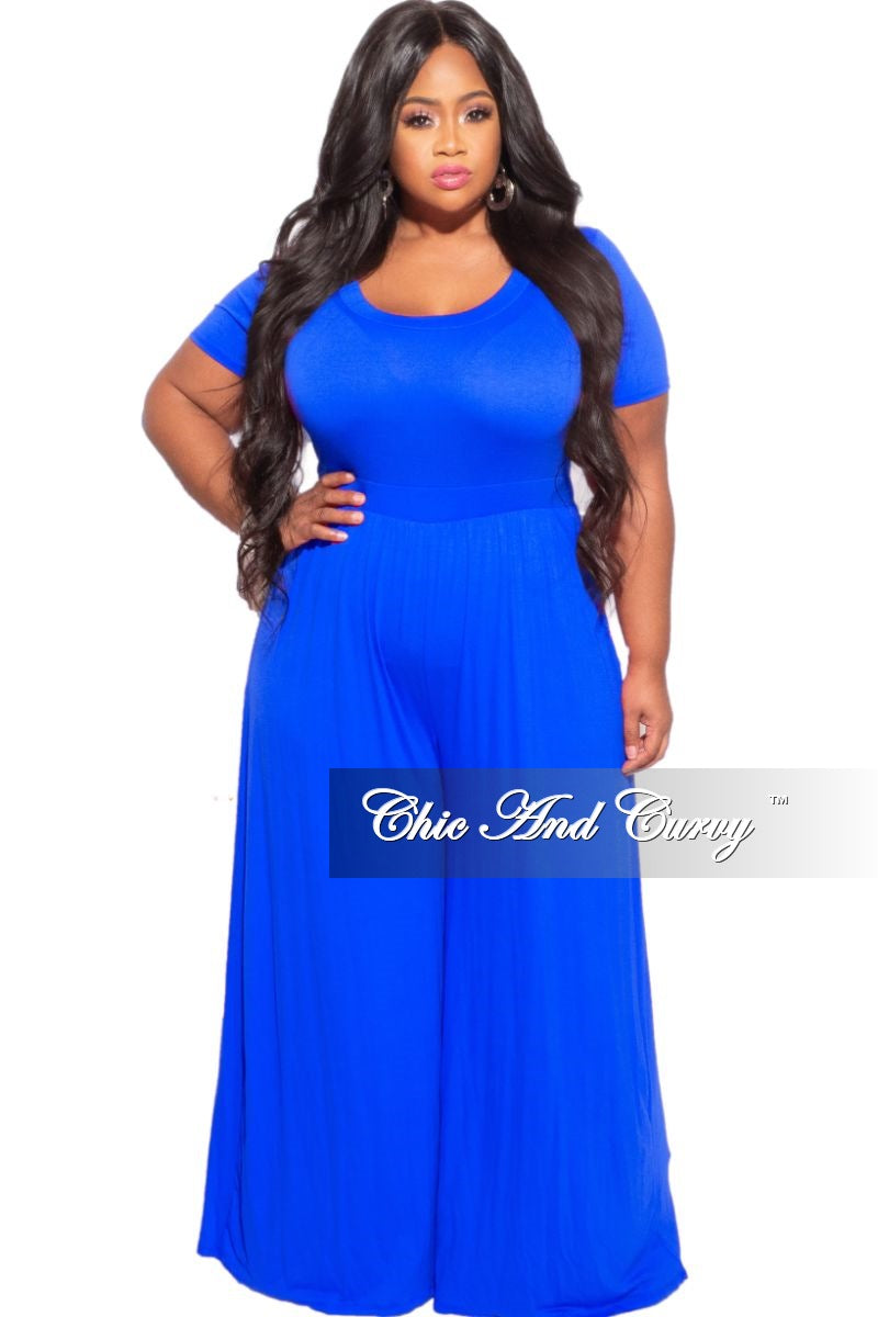 New Plus Size Round Neck Jumpsuit in Royal Blue with Short Sleeves