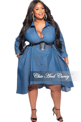 New Plus Size Hi-Low Shirt Dress in Blue Chambray