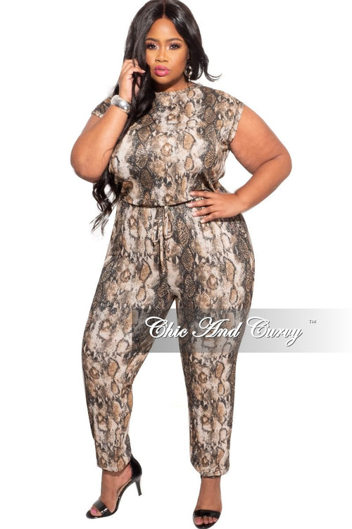 New Plus Size Pocket Jumpsuit in Snake Print