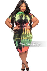 New Plus Size Bodycon Dress in Neon Colors Tie Dye